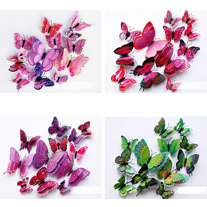 Yeni stil 12 adet çift katmanlı 3D kelebek duvar Sticker duvar ev dekor kelebekler dekorasyon mıknatıs buzdolabı çıkartmalar