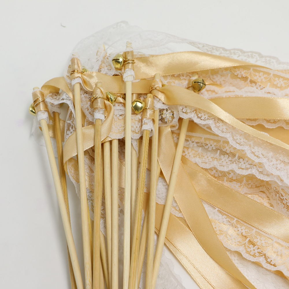 10pcs lot wedding wands lace gold silver bells ribbon for Wedding wands