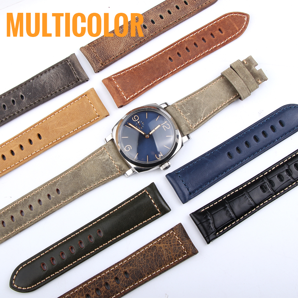 24MM Italian Retrol Cow Leather Watchband for Luxury Universal Watches Strap Band For Panerai Man For <font><b>PAM</b></font> <font><b>Bracelet</b></font> Handmade Tool image