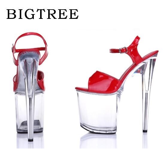 Model T Stage Catwalk Shoes Woman High-heeled 20cm Nightclub Transparent Crystal Shoes Waterproof Platform Sandals Plus Size sexy temptation to 18 centimeters nightclub high heeled shoes catwalk show reception appeal colourful shoes dance shoes