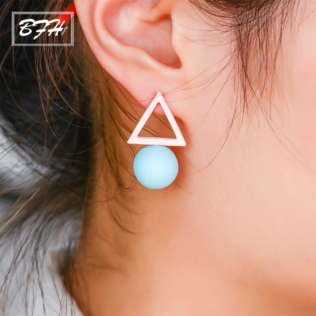Bfh Fashion Charm New Triangle Asymmetric Diffe Candy Long Stud Earrings For Women Party Korean Round