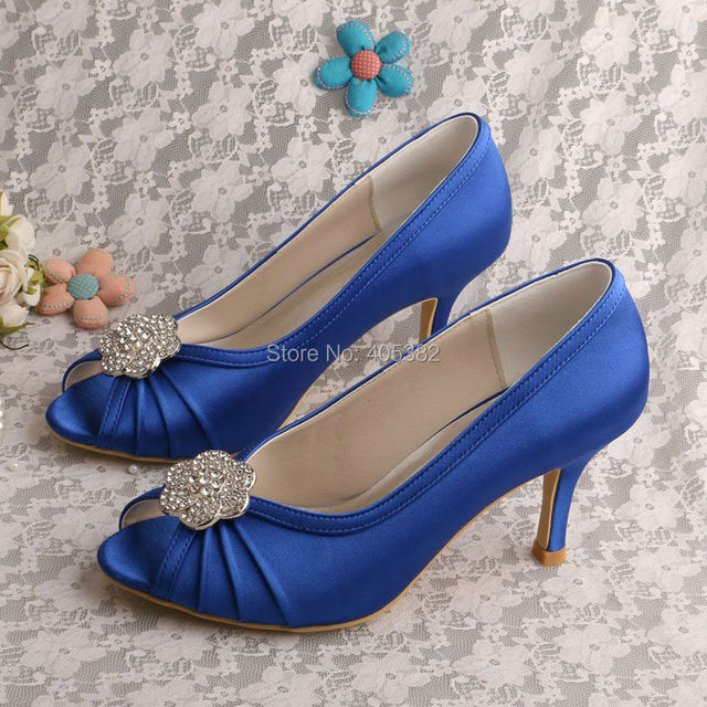 Newest Design Blue Peep Toe Women Pumps Medium Heel Bridal Shoes with Crystal Flower