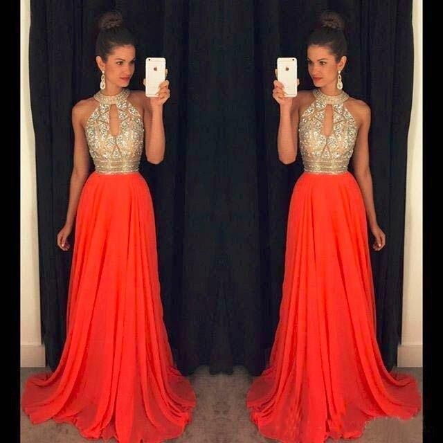 Orange Prom Dresses A Line Halter Top Crystal Beading Dress For Graduation Vestidos de formatura longo 2018 abendkleider 4