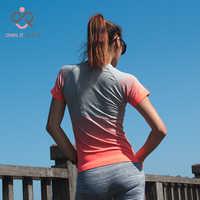 Camisetas de Deporte para mujeres de gimnasio de secado rápido Camiseta de manga de Fitness Ropa Camisetas y tapas Deporte Mujer P096