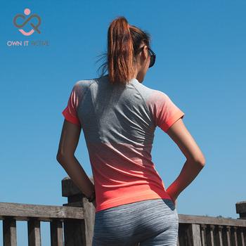 Siłownia damskie koszulki sportowe szybkoschnący t-shirt do biegania rękaw odzież fitness koszulki i topy Deporte Mujer P096 tanie i dobre opinie Koszule Joga Poliester COTTON WOMEN Krótki Oddychające Anty-pilling Szybkie suche Suknem Pasuje prawda na wymiar weź swój normalny rozmiar