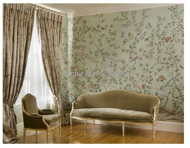 Hand Painted Silk Wallpaper European Style Painting Flower With Bird Covering Many Pictures Optional
