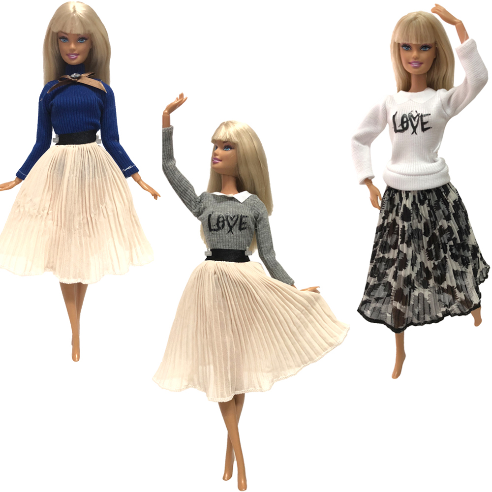 NK 3 Pcs /Set  Doll Ballet Dress Handmade Party ClothesTop Fashion Dress For Barbie  Doll Accessories Child Toys Girl' Gift  5X