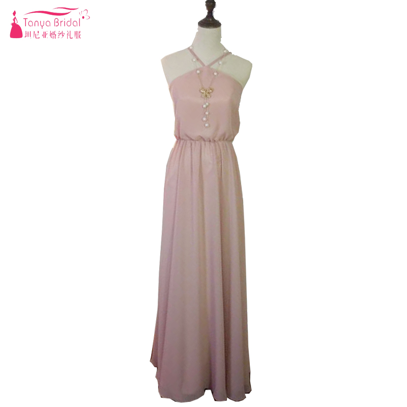 Blush Pink Chiffon Bridesmaid Dresses Halter Floor Length Long Wedding Guest Dresses Cheap Maid Of Honor ZP013