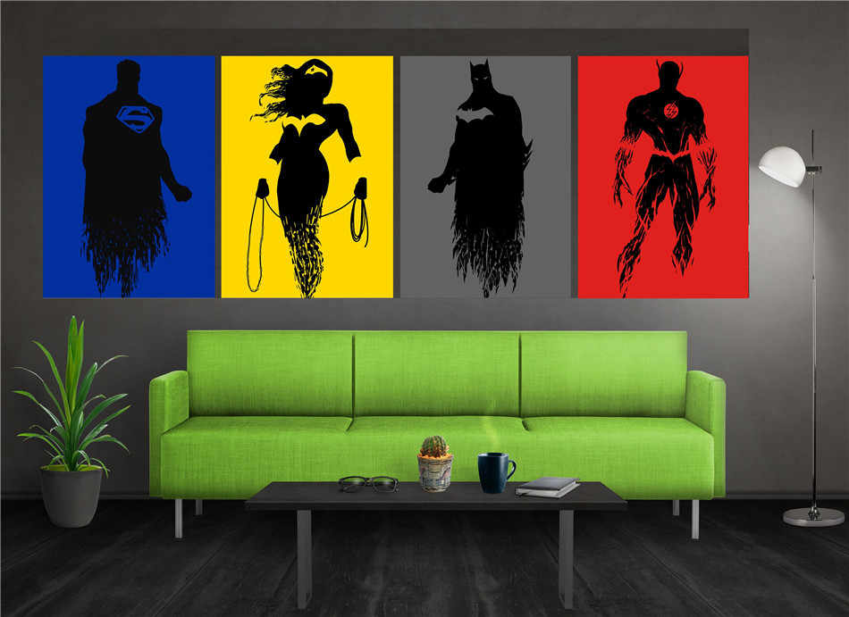 Justice League Poster Set 1 Panel Wall Art Oil Painting Poster Canvas Painting Print Pictures for Living Room Home Decor