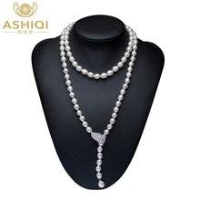 ASHIQI collar de perlas de agua dulce Natural cultivadas para mujer, cadena larga de suéter de plata 925, joyería de moda, regalo para mujer, 90CM