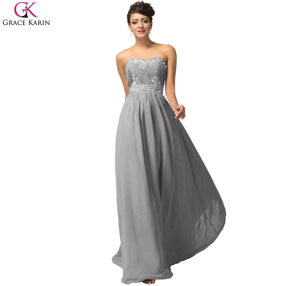 Gray grace karin evening dresses 2017 strapless chiffon for Navy evening dresses for weddings