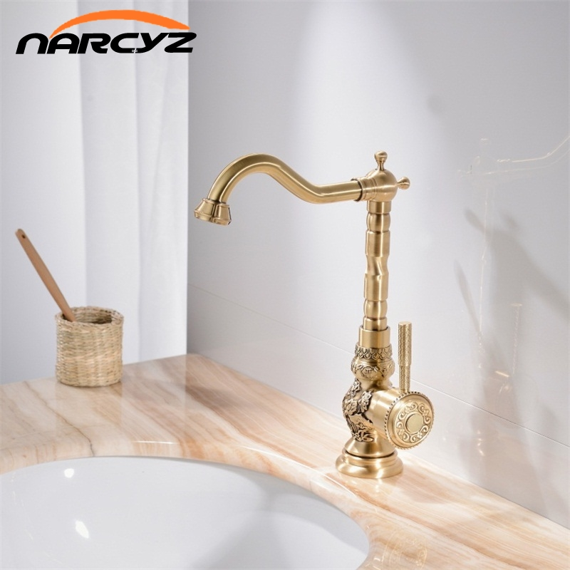 Basin Faucets Deck Mounted Single Handle Bathroom Basin Mixer Tap Antique Bronze Crane High Quality Hot