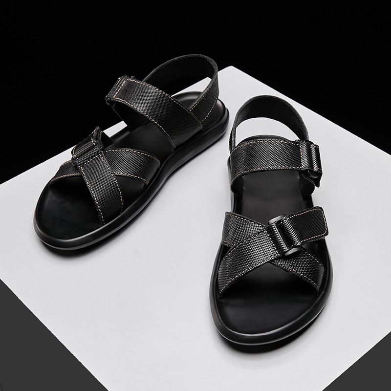 New Men Summer Sandals Fashion Breathable Soft Comfortable Genuine Leather Man Durable Sandals Casual Flats slippers adult shoes-in Men's Sandals from Shoes    1