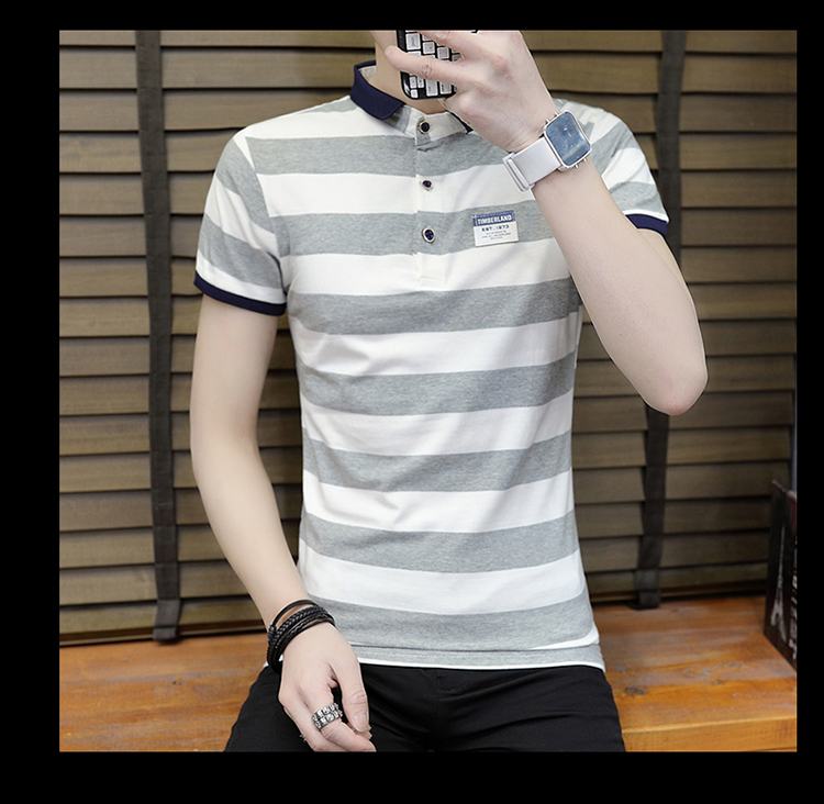 New summer high quality striped short sleeve polo shirt men brand clothing fashion Korean casual slim fit male camisa 9018Z 15