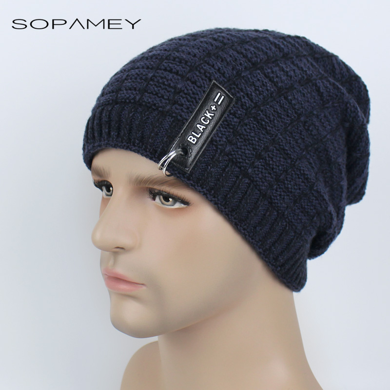 New Men's Skullies Hat Bonnet Winter Beanie Knitted Women Hat Plus Velvet Iron ring Cap Thicker Mask Fringe Black Beanies skullies
