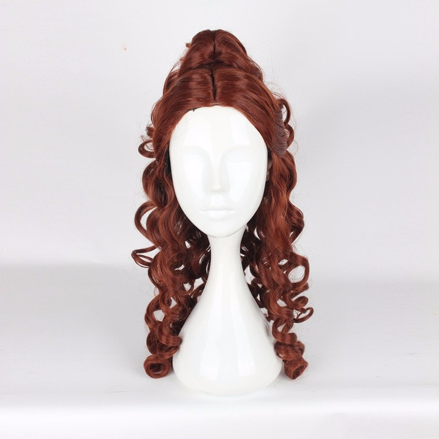 Disney Beauty and The Beast Princess Belle Cosplay Wigs Women Female Anime Costume Party 60cm Curly Wavy Synthetic Hair Brown 1