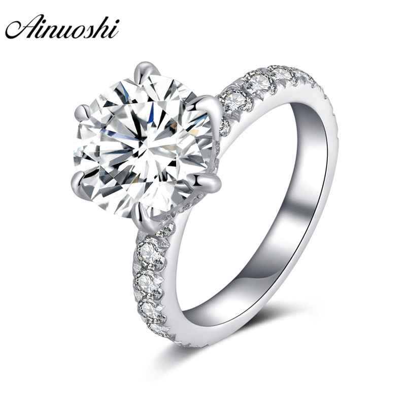 AINOUSHI 925 Sterling Silver 3.5 Carat Round Engagement Ring Solitiare Halo Rings for Women Jewelry anillos plata 925 para mujerAINOUSHI 925 Sterling Silver 3.5 Carat Round Engagement Ring Solitiare Halo Rings for Women Jewelry anillos plata 925 para mujer
