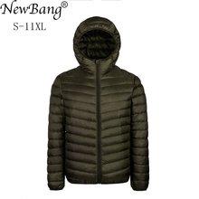 NewBang Plus 9XL 10XL 11XL أسفل معطف الذكور حجم كبير 90% جاكت مضلع خفيف الرجال خفيفة الوزن معطف دافئ مقنعين ريشة سترة
