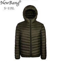 NewBang Plus 9XL 10XL 11XL Down Coat Male Large Size 90 Ultra Light Down Jacket Men Lightweigh Warm Coat Hooded Feather Parka cheap STANDARD Z160524YR03 REGULAR Casual zipper Broadcloth NYLON White duck down Full Solid NONE Zippers Polyester 100g-150g