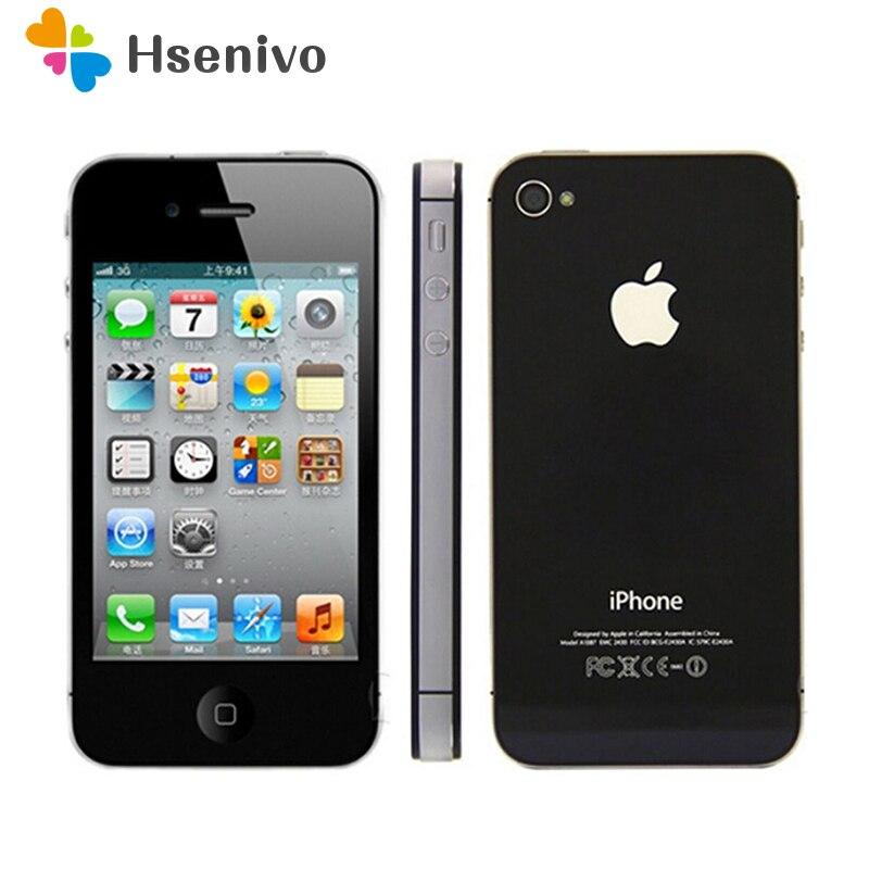 Téléphone d'origine débloqué iPhone 4 S 16 GB 32 GB 64 GB ROM double coeur WCDMA 3G WIFI GPS 8MP appareil photo utilisé apple téléphone portable remis à neuf