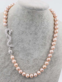 """wow!  freshwater pearl necklace black/white/pink/purple near round 9-10mm AA dargon clasp  18"""" nature FPPJ wholesale beads"""