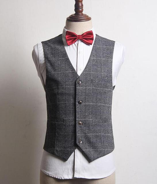 Suit Vest Men Gray  British Sleeveless Jackets Casual Spring Autumn Plus Size Mens Waistcoat Brand New