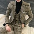 2017 Elegante 3 Peça Se Adapte Homens Britânicos Mais Recentes Modelos Casaco Calça Terno dos homens Do Noivo Vestido de Casamento Smoking Para Os Homens Slim Fit Xadrez