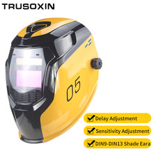 Samrt Solar LI battery Automatic Darkening TIG MIG MMA MAG Electric Welding Mask/Helmets/Welder Cap for Welding Machine(China)