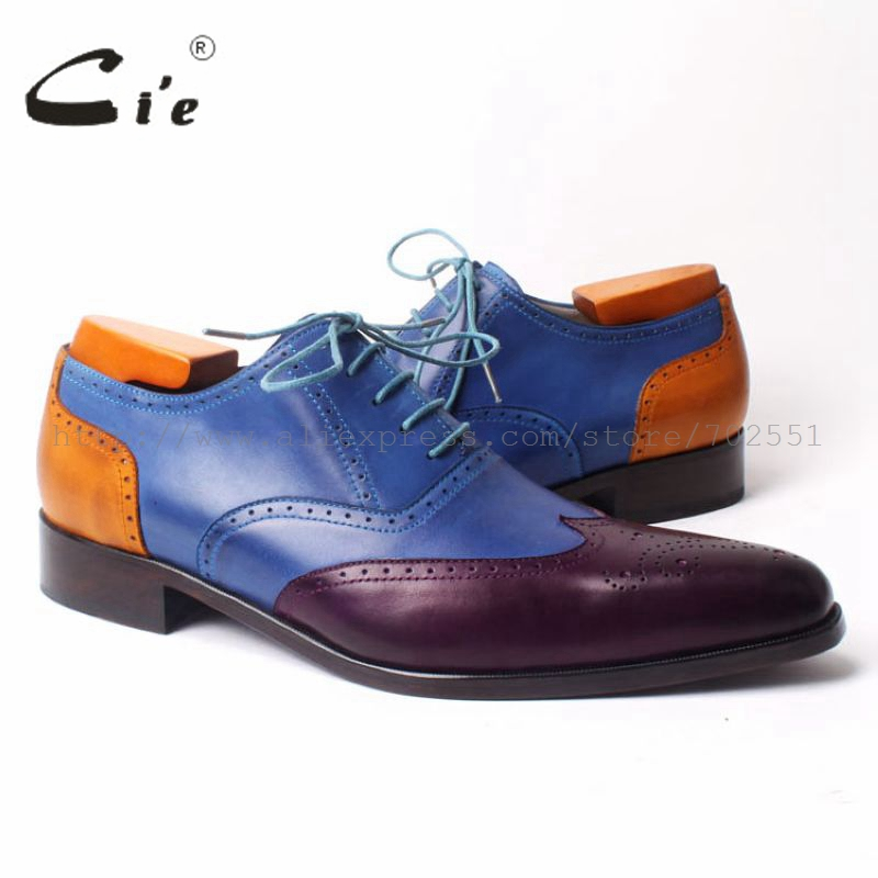 cie Pointed Toe Full Brogues Mixed Colors 100% Genuine Calf Leather Breathable Bottom Outsole Men's Leather Flats shoe OX303 цены онлайн