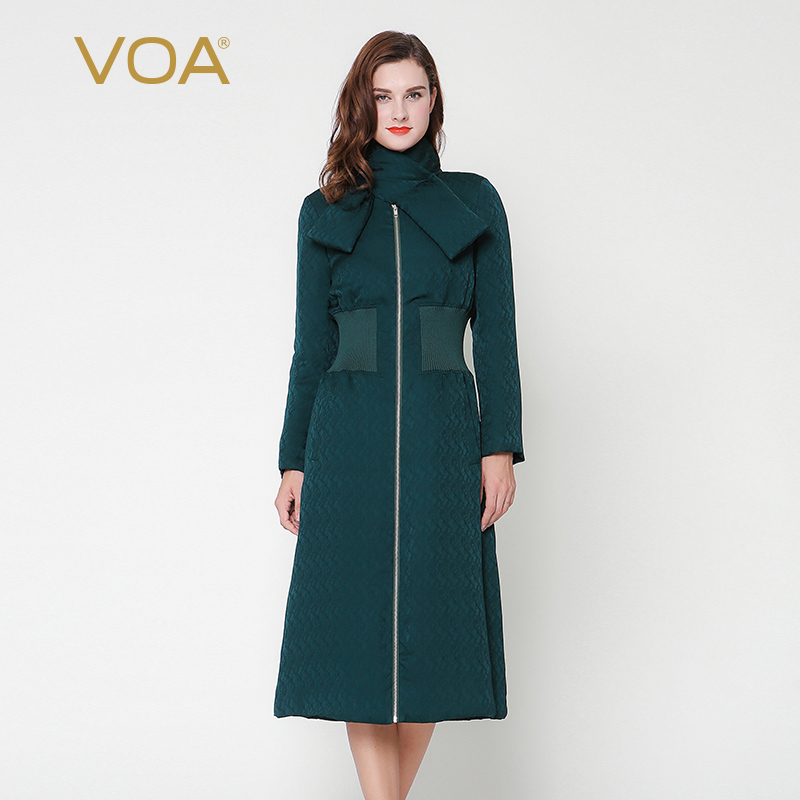 VOA Dark Green Cross Shawl Collar Waist Long Silk Cotton Padded Jacket Female Thick Straight Silk Dobby M7299 куртка turbokolor ewald plus jacket fw13 dark green l