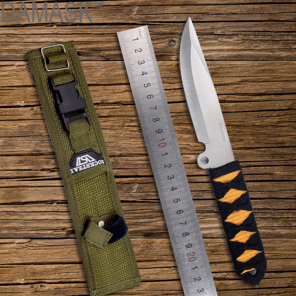 DAMASK Army Military Tactical Fighting Camping Straight Knife Utility Outdoor Survival Tools Fixed Stainless Steel Blade Knife
