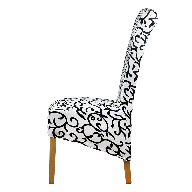Chair Covers Long Back Electric Rocking Xl Size Cover Europe Style Seat White And Black Checked Pattern Hotel Party