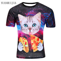 2017new Galaxy Space 3D T Shirt Lovely Kitten Cat Eat Pizza Funny Tops Tee Short Sleeve