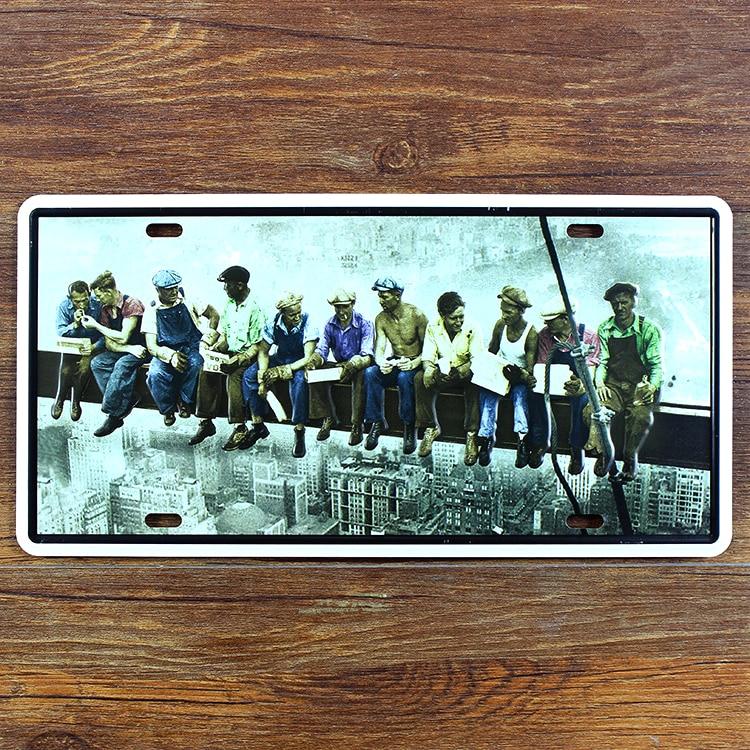 """RZ1530-087 vintage logam lukisan """"sisa pekerja"""" plat kopi bar dekoratif lukisan dinding poster 15x30 CM"""
