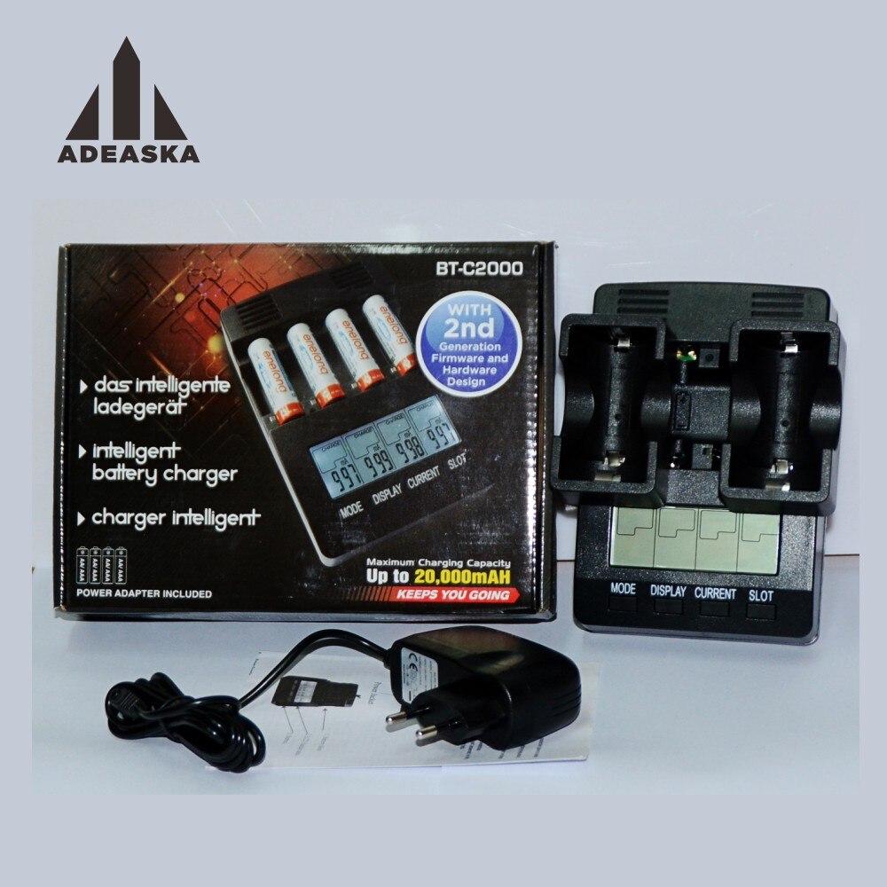 Adeaska bt-c2000 chargeur de batterie pour numérique lcd affichage nimh rechargeable aa aaa 10440 intelligente bt-c2000 vs opus