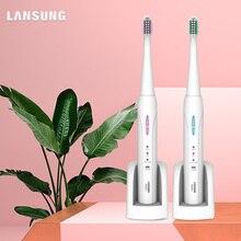 Lansung Sonic Electric Toothbrush Ultrasonic Whitening Teeth Vibrator tooth brush Dental Care Oral Hygiene Washable 4 brush head