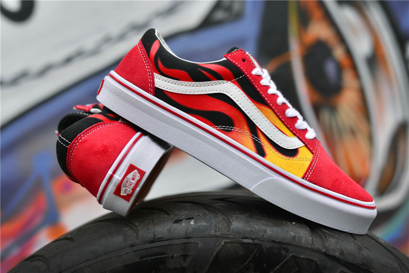 vans old skool red flame