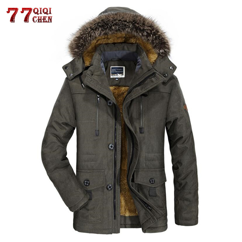 Winter Jacket Men Thick Casual Outwear Fleece Cotton Jackets Men's Fur Collar Windproof   Parkas   Plus Size 6XL Velvet Warm Coat