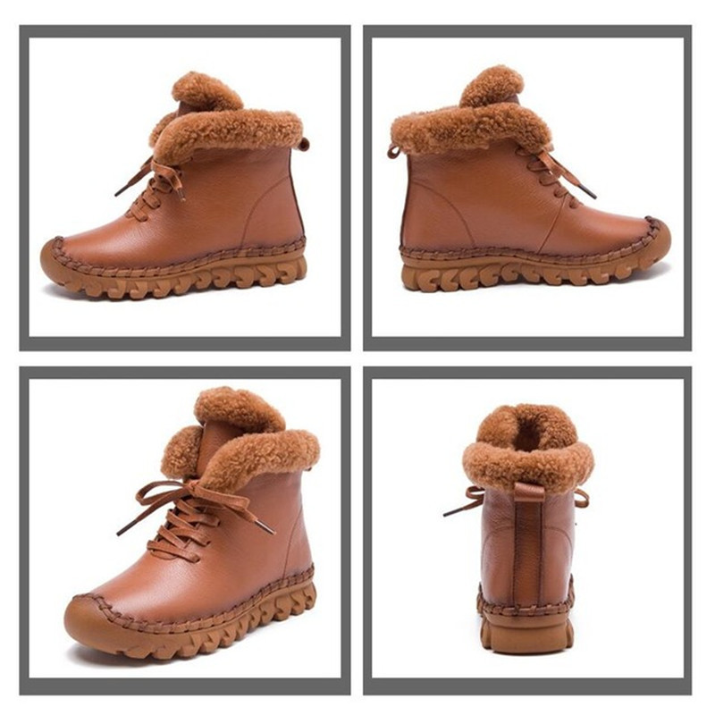 MVVJKE Handmade Ankle Boots Martin Flat Boots 100% Real Genuine Leather Shoes Retro Winter Snow Boots Botines Mujer Women Shoes