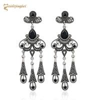 MEIDIJINGBEI Hot bursts earrings vintage national wind hollow leaf gem water drops thigh ear ear earrings