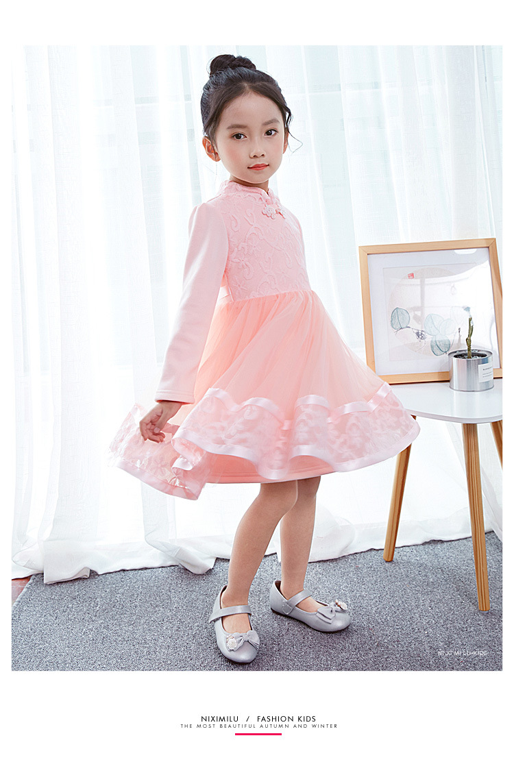 8a77dd4240 Holiday Dresses for Girls 3-7Years Chinese Tang Lace Princess Voile Tutu  Dress Long Sleeve New Year Costumes Children Clothes