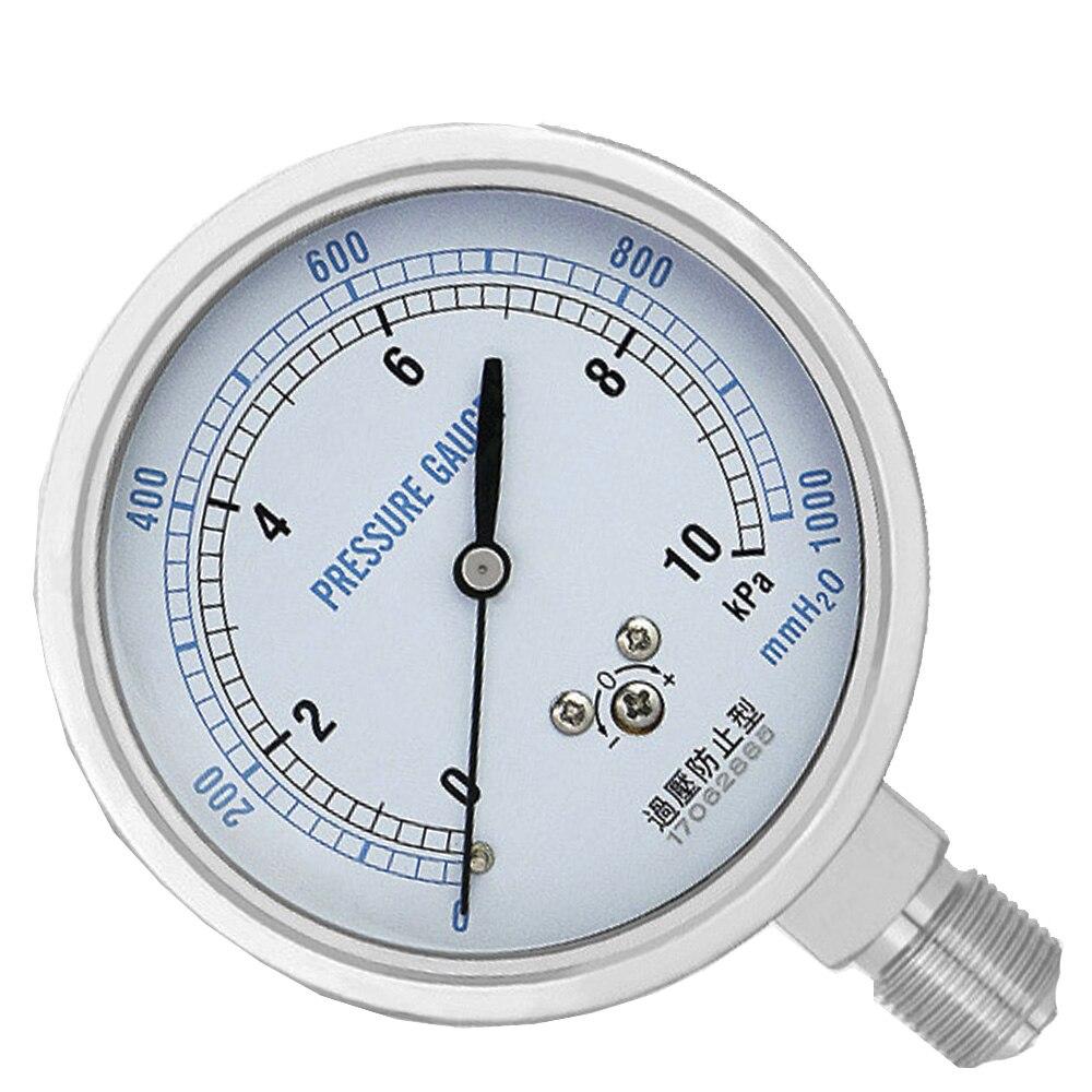 цена на YE75 thread 3/8 Vacuum stainless steel pressure gauge -100kpa-0kpa-100kpa diaphragm gauge gas gauge kPa gauge