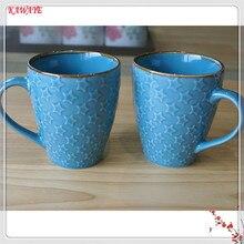 1pcs Creative Ceramic Mug European Style Pentagram Embossed Ceramic Cup Casual Afternoon Tea Coffee Cup Family