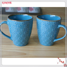 1pcs Creative Ceramic Mug European Style Pentagram Embossed Ceramic Cup Casual Afternoon Tea Coffee Cup Family Drinkware 6ZDZ243