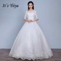 Cheap Lace Half Sleeves Wedding Dresses 2017 Summer Style Custom Made Classic White Bride Gowns Vestidos
