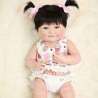 Full Silicone Vinyl Reborn Baby Doll Realistic Girl newborn babies Dolls 14 Inch 35 cm Lifelike Princess Kids bebe toy NPK