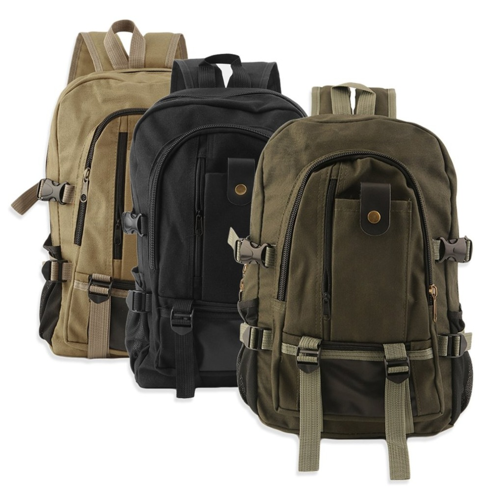 Canvas Backpack Laptop-Bag School-Rucksack Travel Multifunction Vintage Shoulder Men