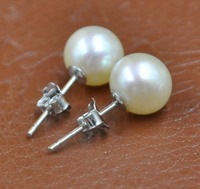 High Quality Sterling Silver 8mm Round White Pink Pearl Earring Studs