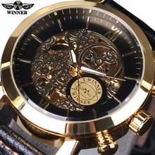 Gagnant Montre Automatique Mens Watch Top Marque De Luxe Boîtier en Or De Mode Nuages Creux Squelette Véritable Bracelet En Cuir Horloge