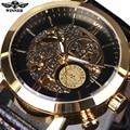 Vencedor Relógio Automático Mens Watch Top Marca de Luxo De Ouro Caso Nuvens Moda Oco Esqueleto Relógio Pulseira de Couro Genuíno